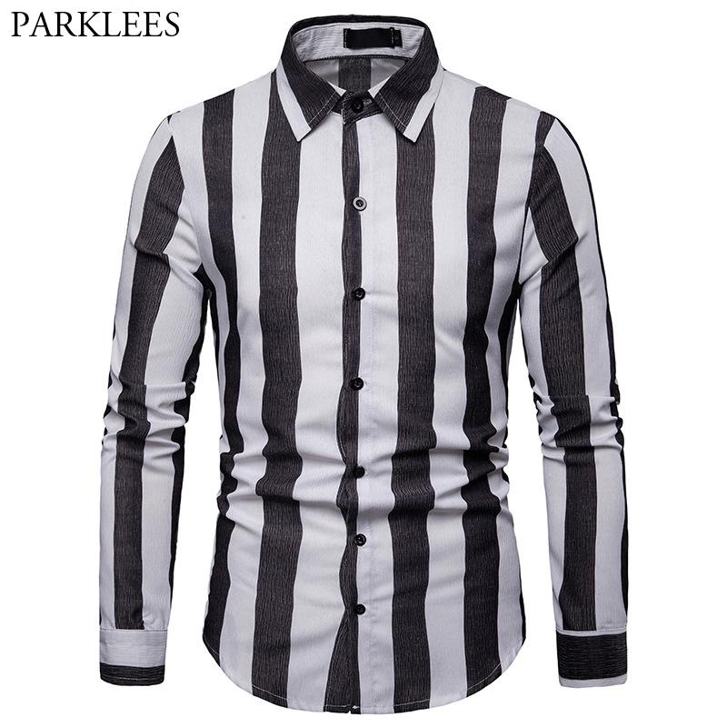 63598f8af4 2019 Fashion Black White Striped Shirt Men 2019 Spring New Mens Casual  Button Down Dress Shirts Slim Fit Long Sleeve Shirt Chemise From Workwell,  ...