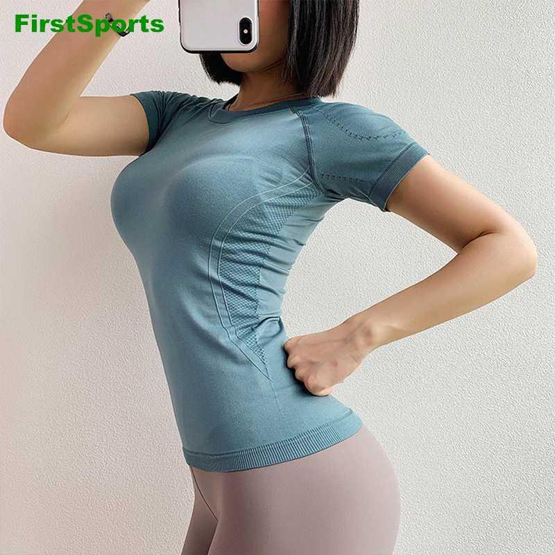 Sin fisuras de las mujeres camisas de la yoga Tops manga corta de rayas delgadas corrientes de los deportes camisetas de entrenamiento transpirable al Gimnasio, Camisas