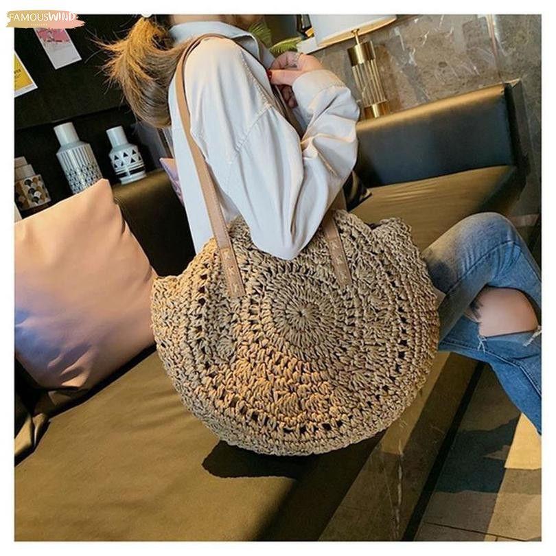 Womens vacanze Style paglia borsa Semplici Borse a tracolla di colore borse a spalla Piccole solidi per le signore Borse