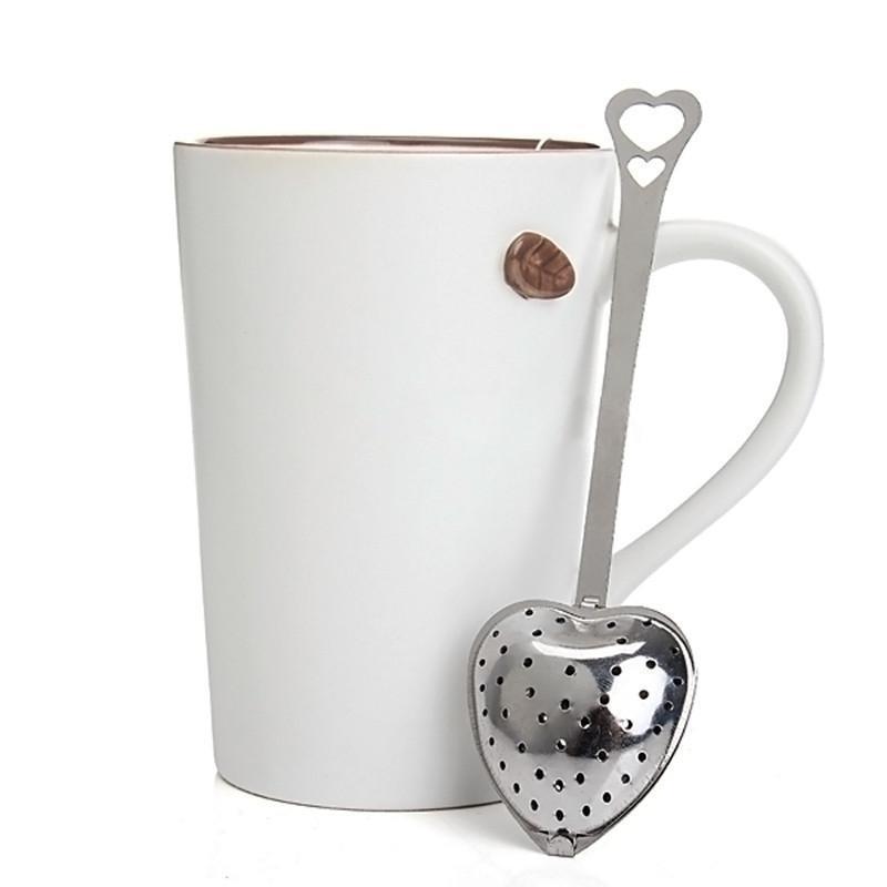 Heart Shape Stainless Steel Tea Strainers Silver Tea Leaf Herbal Filter Infuser Spoon Strainer practical Kitchen Tool cute