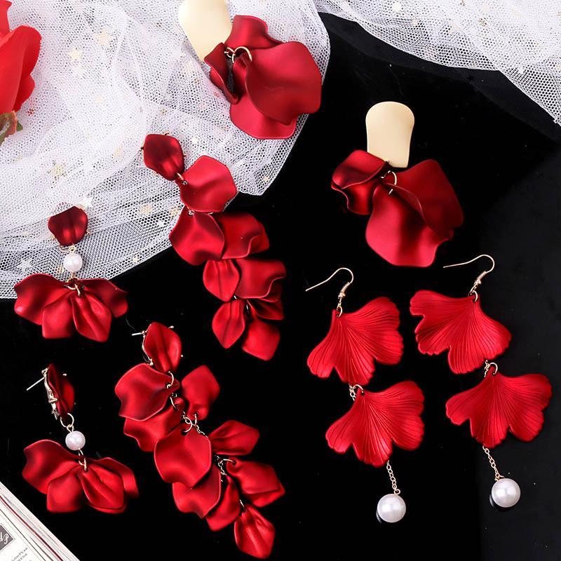 Длинные розы лепесток мотаться серьги мода Boho акриловые цветочные серьги большой заявление смолы цветочные серьги для Леди Люкс