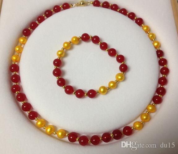 Kadın Düğün Moda 8-8.5 MM Altın Akoya Kültürlü Pearl / Kırmızı GEM kolye Bilezik set gerçek gümüş-takı