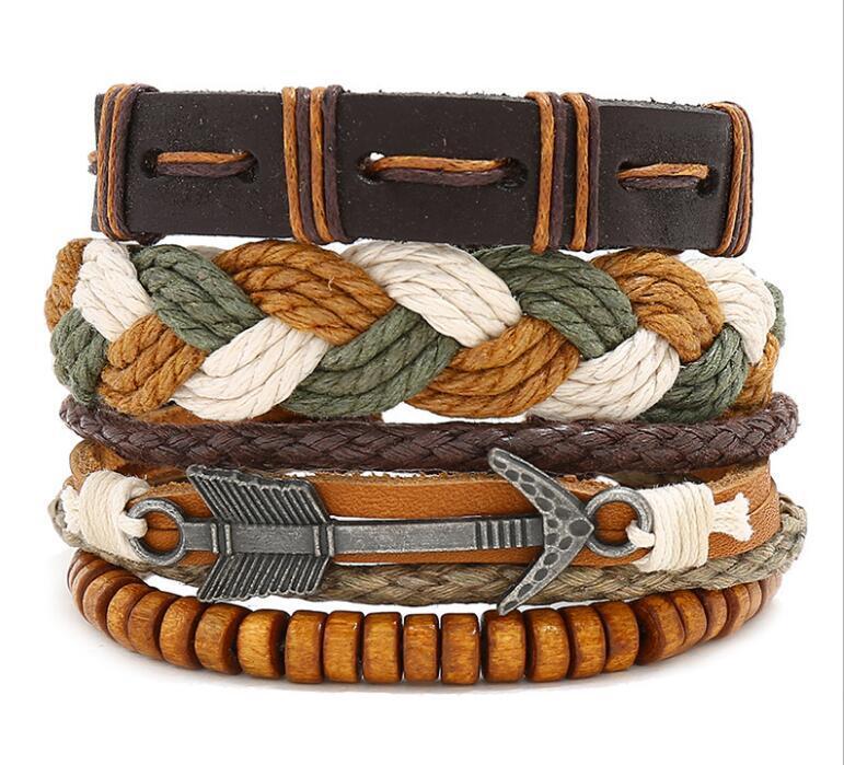 100% authentique bracelet en cuir bricolage alliage flèche corde de cire costume Combinaison Homme taille du bracelet peut être ajustée 3styles / 1set