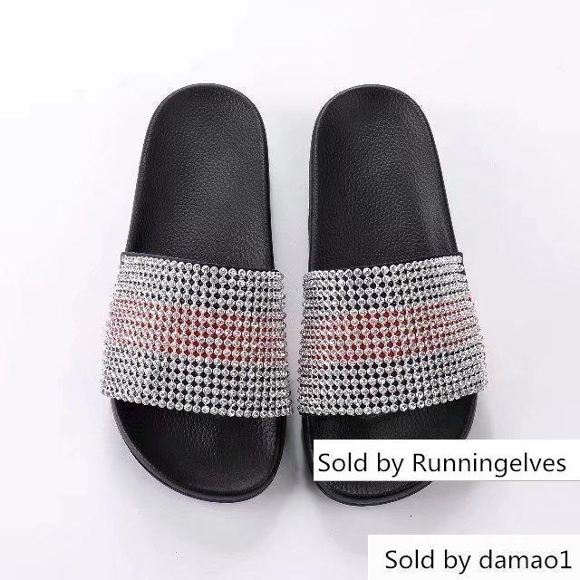 Zapatos de cuero del Rhinestone 6325 deslizadores de las mujeres conductores sandalias zapatillas de diapositivas Princetown Zapatilla reales