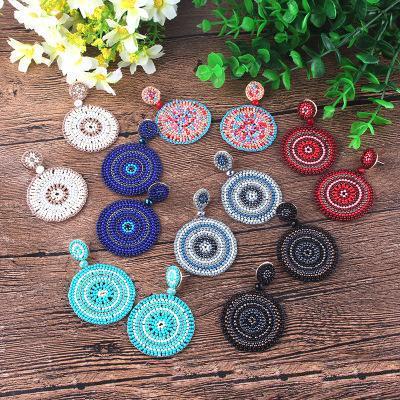 Mode Perle géométrique Hoop bohème Big Dangle Boucles d'oreilles pour les femmes Déclaration Fringe légère Boho Stud Grand Bijoux Dangle