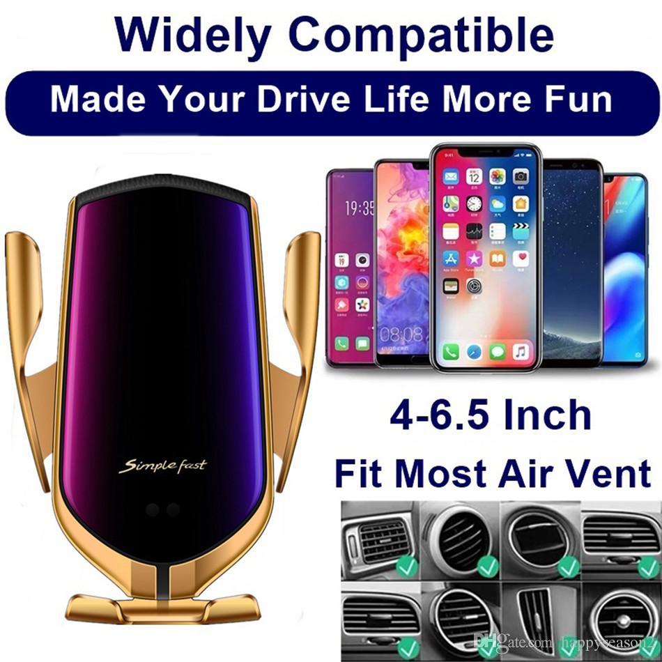 R1 voiture chargeur sans fil 10W automatique Téléphone Clamping support voiture Position Air Vent Qi Support pour iPhone et Android