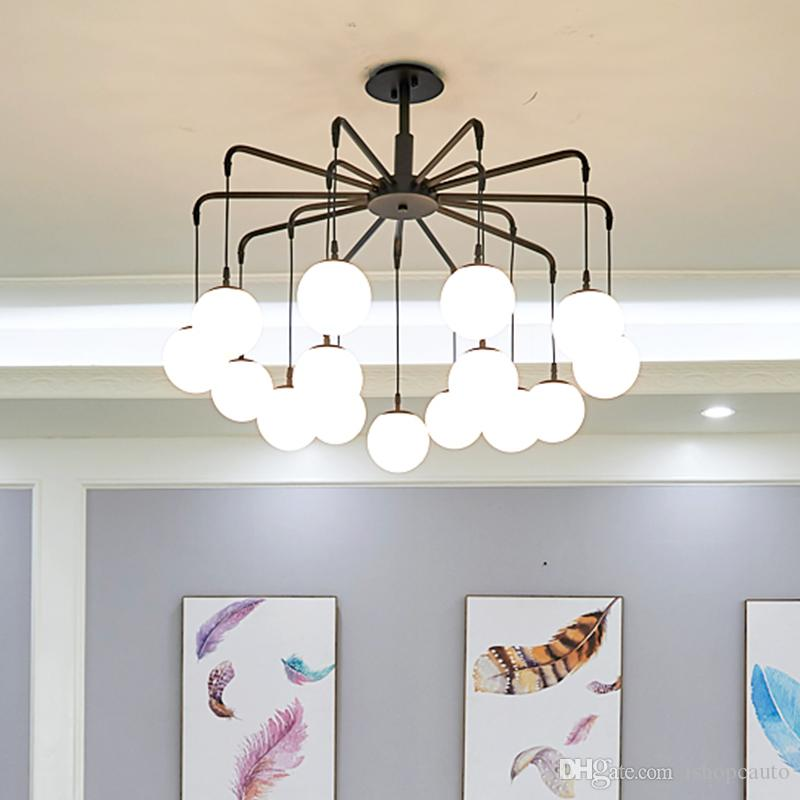 Glass Ball Chandelier Lighting Modern Creative Rock Lampshade Luxury Chandelier Vintage For Living Room Bedroom G9 Bulbs -I109