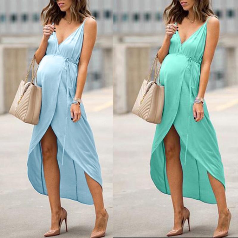 Robes de maternité pour les femmes enceintes plus robe de maternité femmes d'été sans manches Casual Robe Vêtements de Robe de grossesse