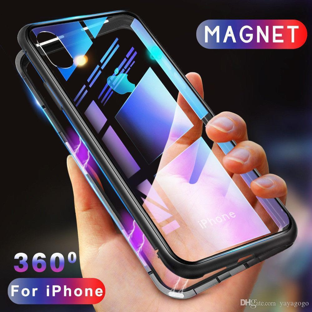 Top neue metallrahmen magnetische adsorption gehärtetes glas telefon case für iphone x xr xs max 8 7 6 samsung s8 s9 plus note 9