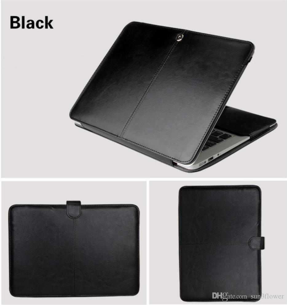 "Estojo de couro pu para macbook air 11 ar 13 pro 13 pro 15 '' new retina 12 13 15 case capa para macbook 13.3 ""15.4"" 15.6 ""-preto"
