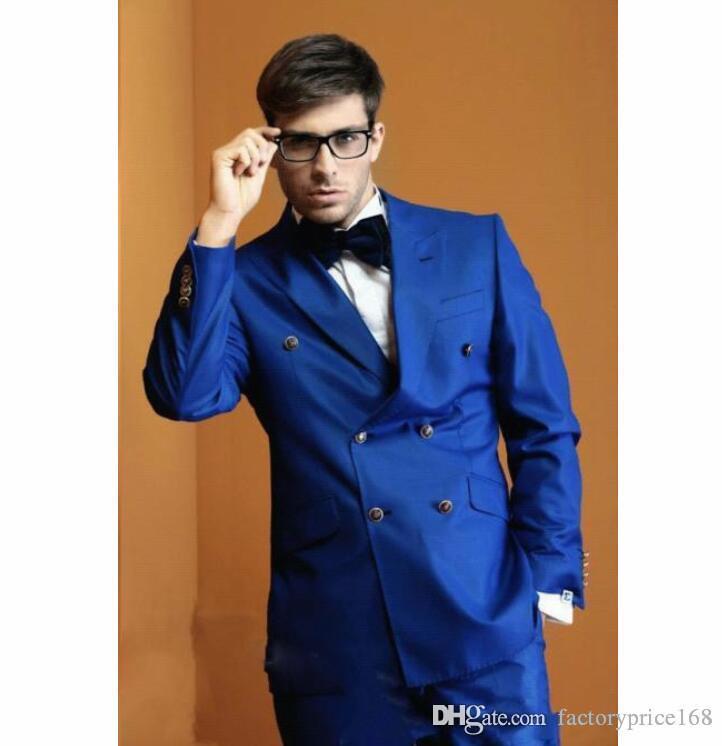 Popüler Royal Blue Groomsmen çift Breasted (Ceket + Pantolon + Kravat) Damat smokin Groomsmen Best Man Suit Erkek Düğün Suit Damat A215