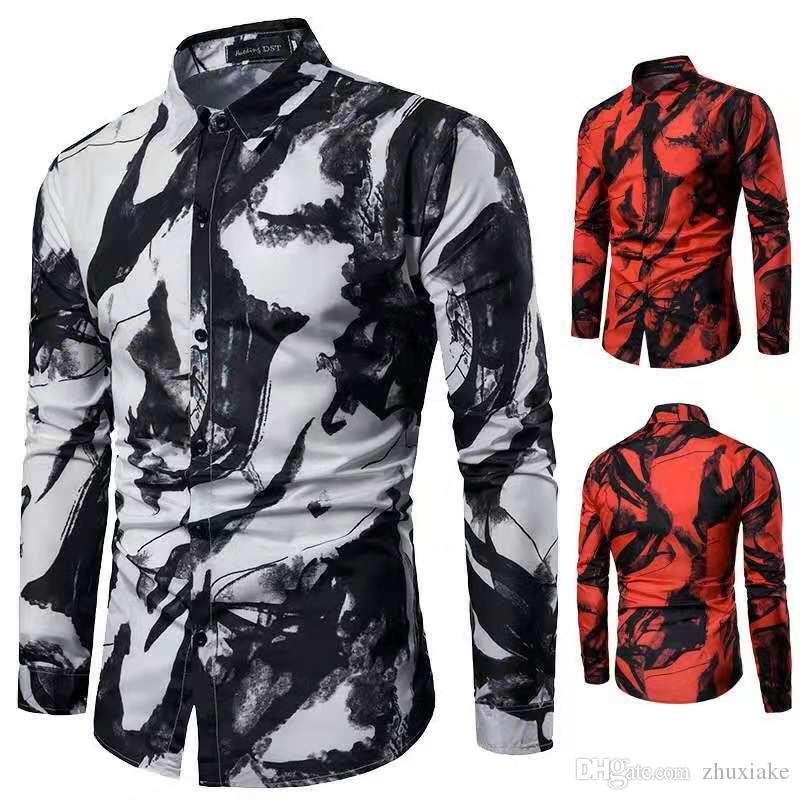 Mens 2019 Lüks Tasarımcı Baskı Bluz Yaz Sonbahar Bahar Moda Giyim Adam Uzun Kollu Baskı Ile Rahat Gömlek Gömlek