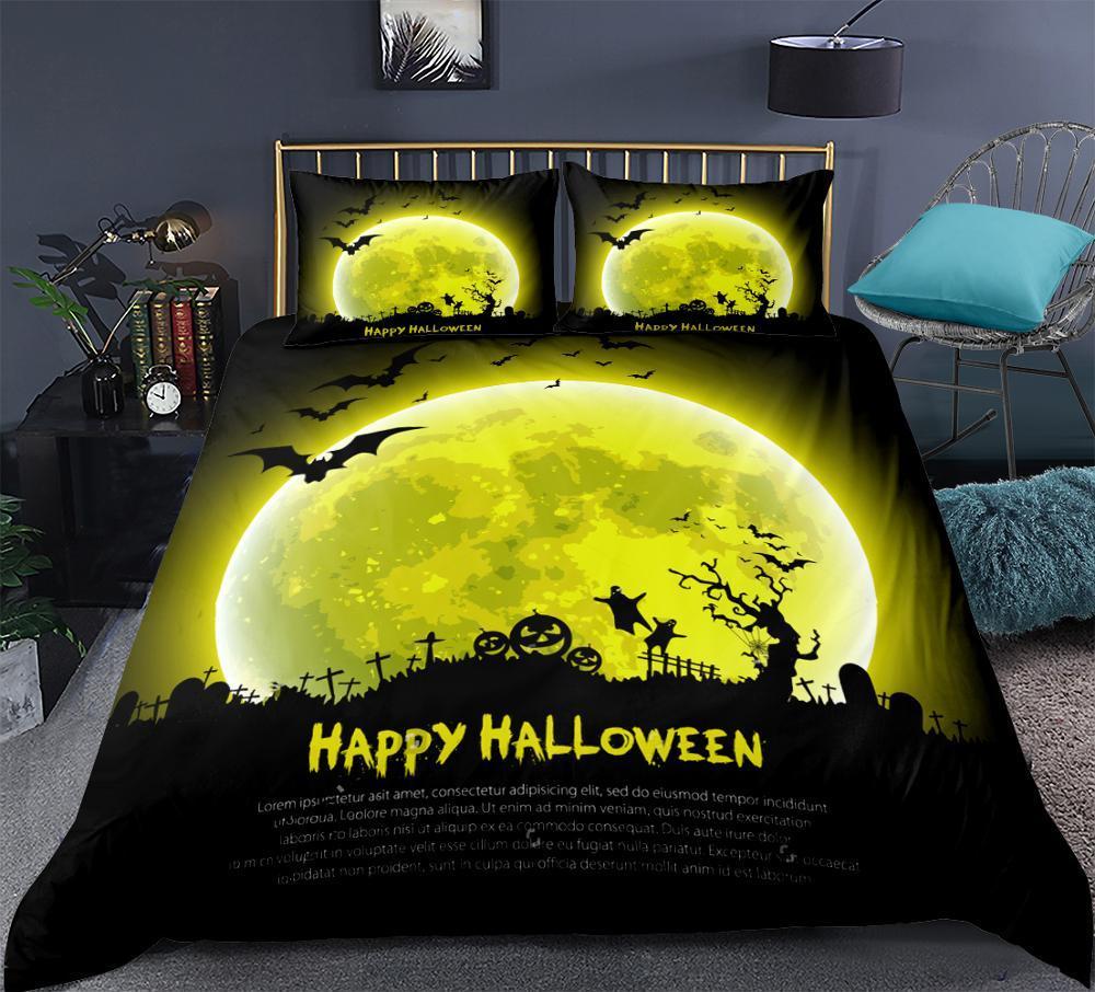 Set di biancheria da letto di Halloween Sfondo di terrore di luna gialla Set di copripiumini Copripiumino con set di biancheria da letto Set di lenzuola 3 pezzi
