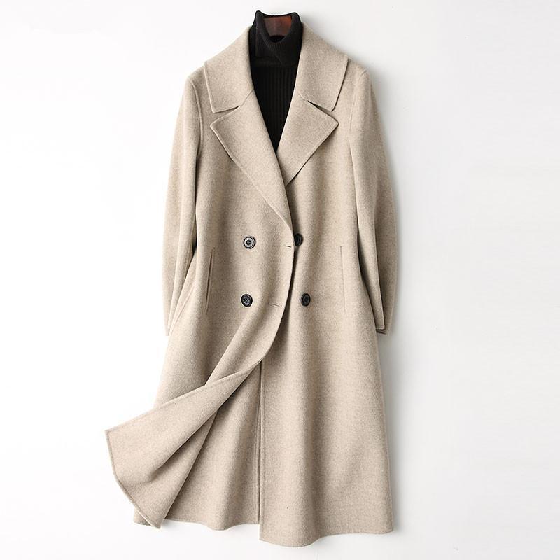 casaco feminino 4040 Spring 300% Дважды сторона шерстяное пальто Женщины Длинные пальто Женский Куртки зимние Верхняя одежда 37359 WYQ3359