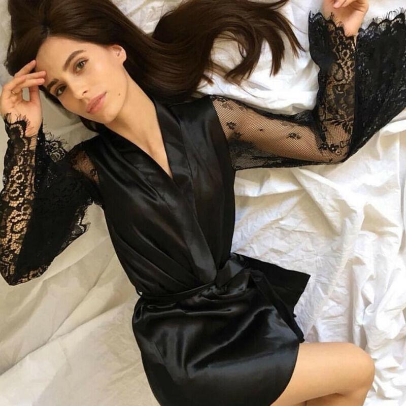 Mode Dessous für Frauen Spitze Kimono Robe langes Kleid Mesh Sleepwear Sexy Roben KSHBW