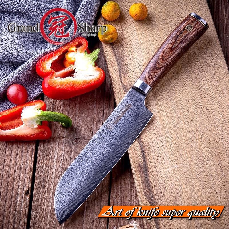 Grandsharp 6.7 Inç Santoku Bıçak Profesyonel Şef Bıçağı VG10 Japon Hediye Kutusu ile 67 katmanlar Şam Mutfak Bıçakları
