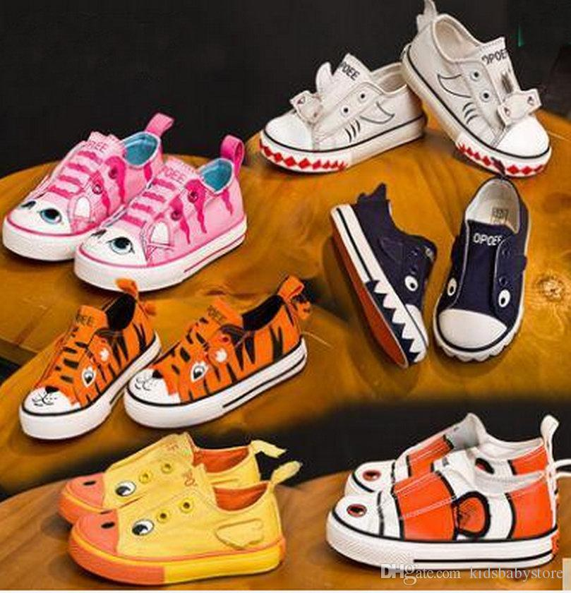 New Animal Designer Canvas Children Cartoon Sports Shoes Boys Girls Breathable Sneakers Brand Kids Shoes Casual Child Flat Canvas Shoes