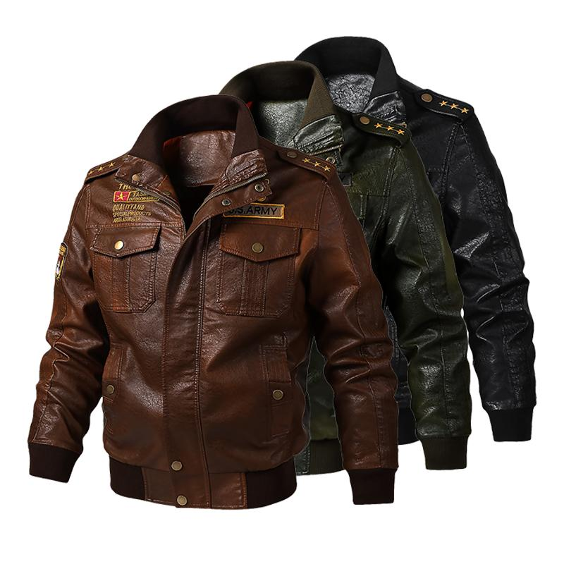 Erkek Deri Ceket Slim Fit Coat Erkekler Yaka jaqueta PU Coats Biker Ceket Casual Motosiklet Faux Fur M-6XL Ceket Fleece Standı