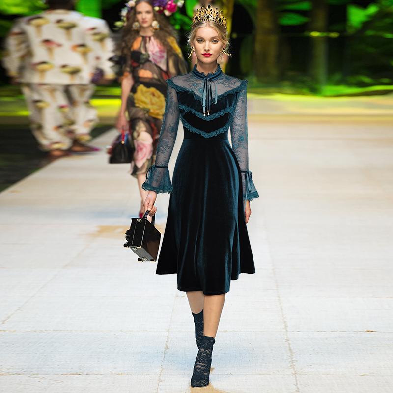 2019 осень зеленый / черный сплошной цвет ленты галстук лук лоскутное середины икры с длинным рукавом стенд шеи мода взлетно-посадочной полосы платья Vestidos 9N12YDY10D