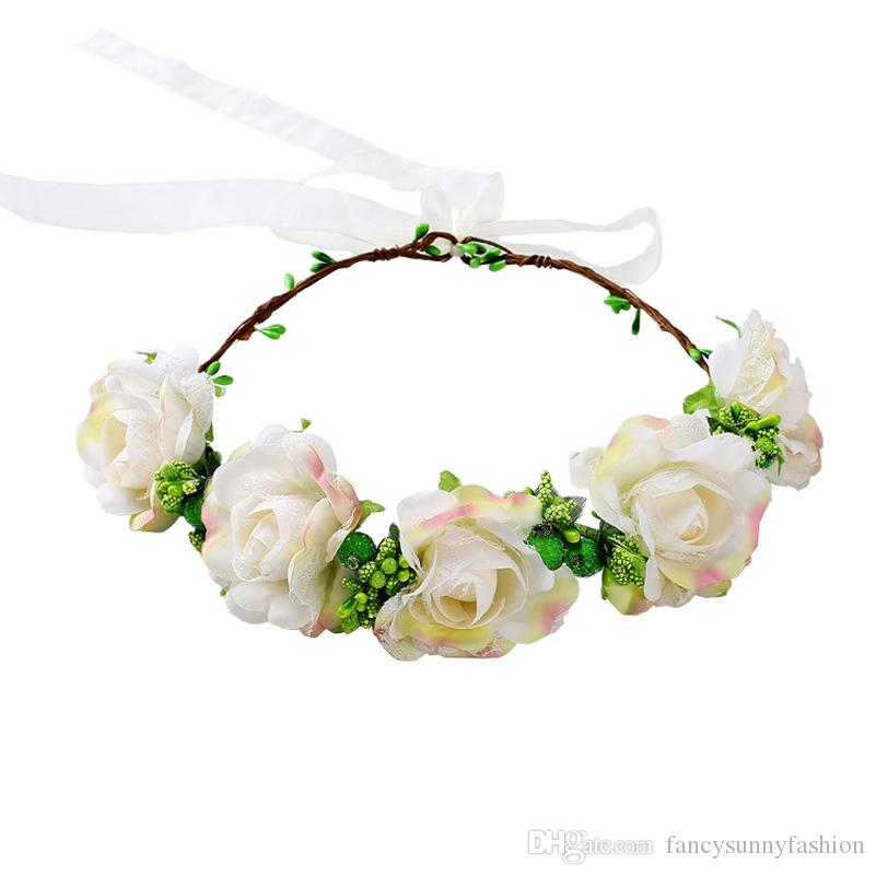 Flor ajustable Corona Rosa halo BOHO diademas para mujeres niñas fiesta de bodas festival de maternidad familia imagen cabeza Guirnalda del pelo Guirnalda