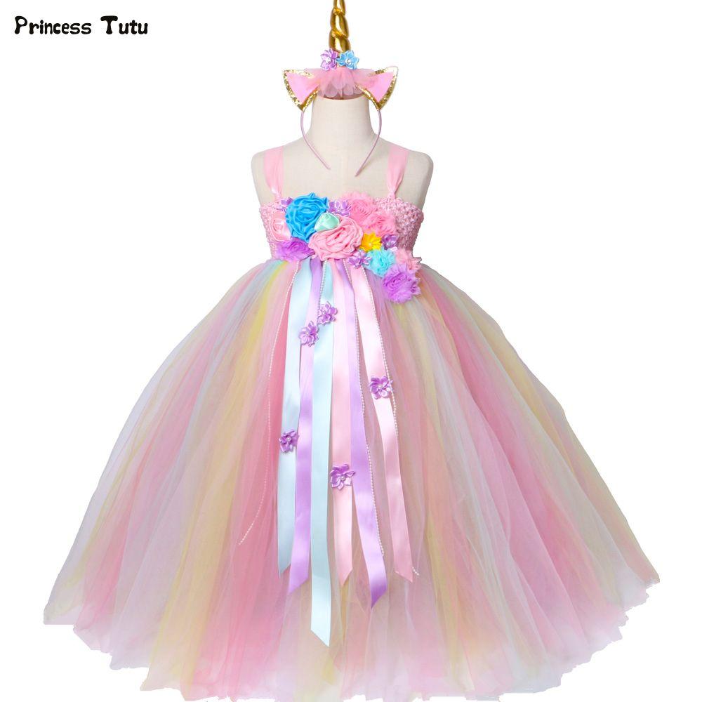 Mädchen Einhorn Tutu Kleid Pastell Regenbogen Prinzessin Blumenmädchen Party Kleider Kinder Kinder Geburtstag Halloween Einhorn Kostüm 1-14 J190612