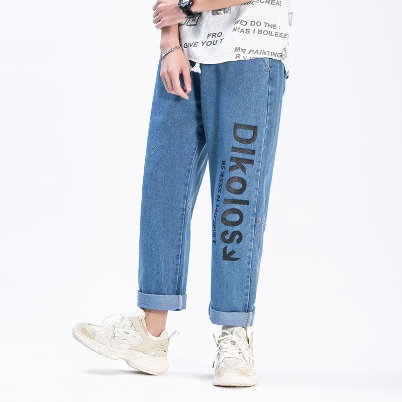 인기 브랜드 문자 인쇄 청바지 남성 2020 새로운 스타일 느슨한 스트레이트 나인 포인트 잘 생긴 캐주얼 다목적 넓은 다리 바지