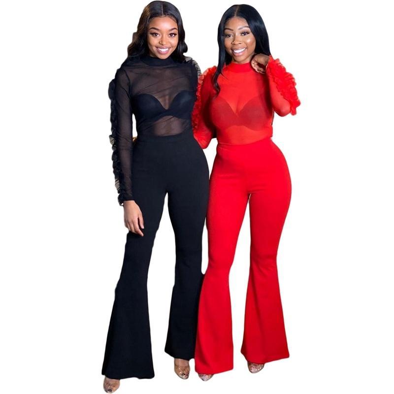 2-teiliges Set Frauen Outfits Partei reizvollen Verein Zweiteiler Elegante Rüschen Mesh-Crop Top Flare Pants Set Schwester Passende Kleidung T200608