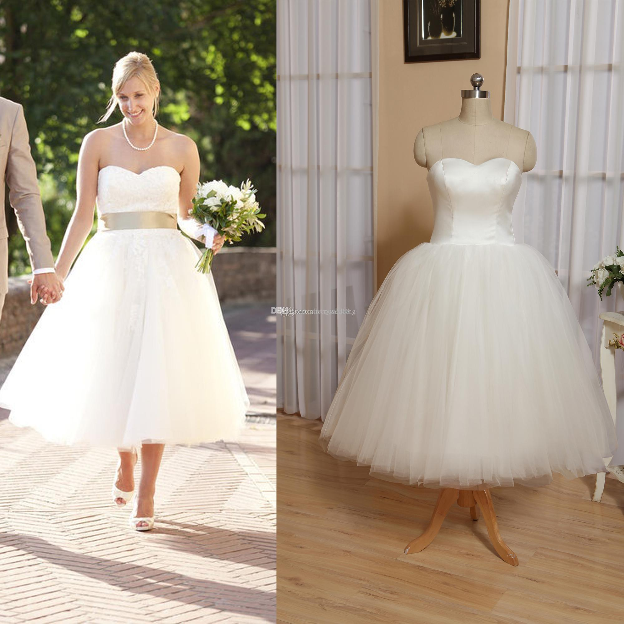 2021 Short Wedding Dress Tulle Skirt Satin Bodice vintage Knee Length Wedding Dresses plus size wedding dresses