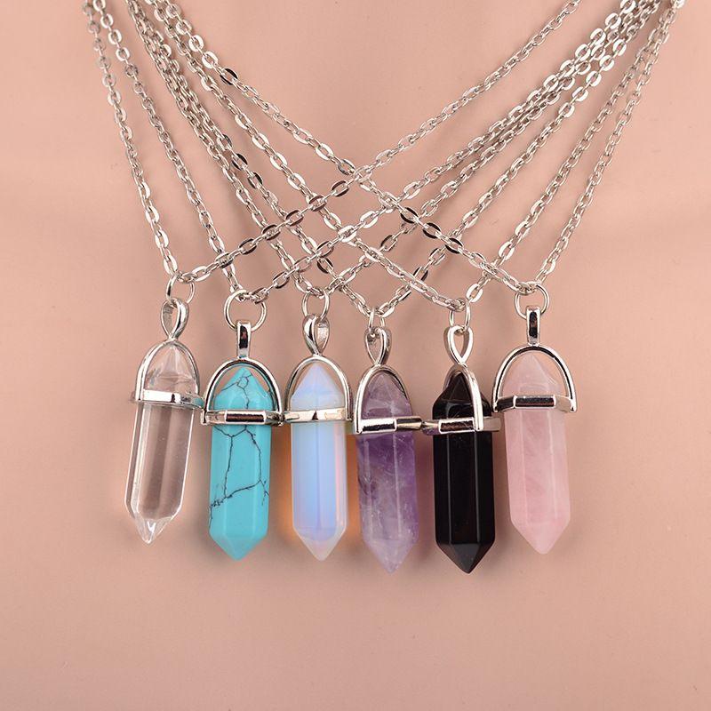 Hot sale Hexagonal Column Quartz Necklaces Pendants Vintage Natural Stone Bullet Crystal Necklace For Women Jewelry