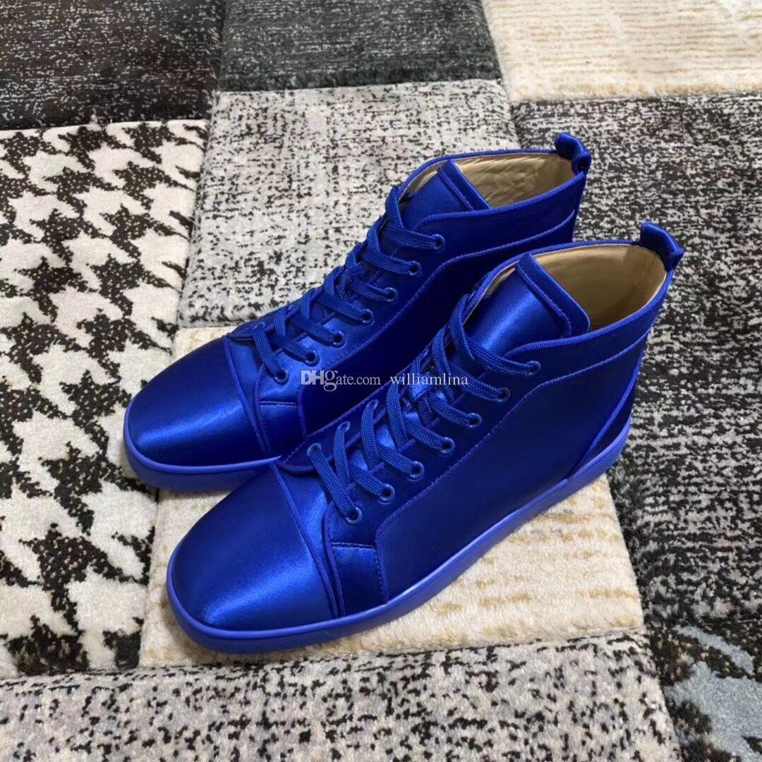 Perfect Blue Stain Casual Couro High Top Red Sneakers inferior sapatas, passeio Mulheres Moda Brand-clássico da festa de casamento EU35-47