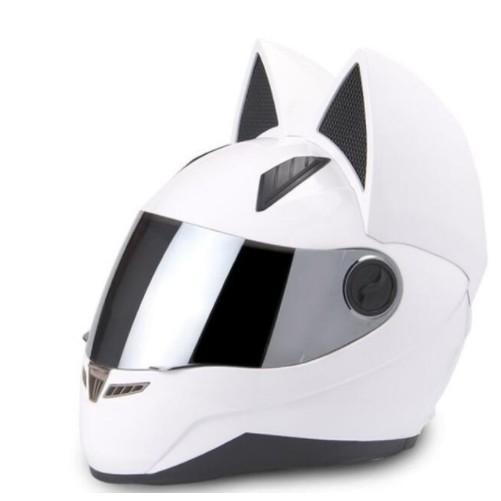 Nitrinos Motocicleta Casco Mujer Personalidad Moto Capacete Black Cat Helmet Full Face Moto Moda Motorbike