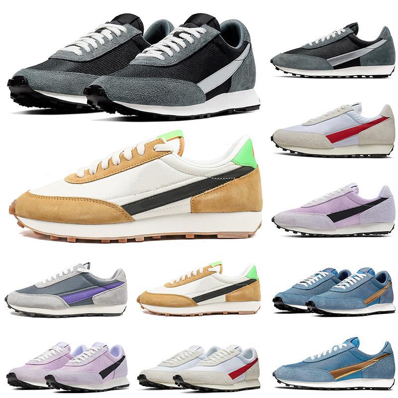 2020 Waffle DAYBREAK SP Zapatos Casual Hombres Mujeres zapatillas de oro metálico de plata gris azul diseñador del zapato corriente tamaño 36-45 Deportes mayorista