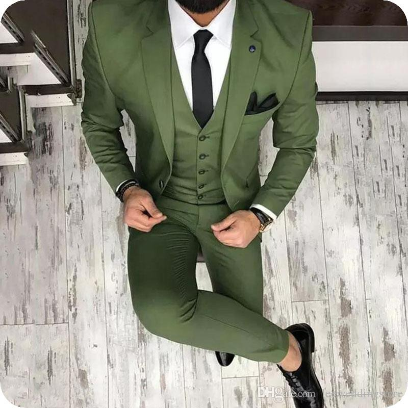 Men Suits Green White Custom Made Wedding Suits Business Suits 3 Pieces Slim Fit Grooms Terno Masculino Latest Designs (Jacket+Pants+Vest)