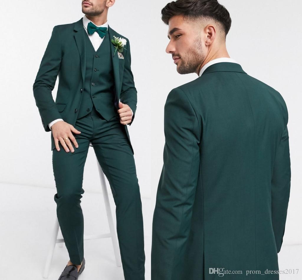 2020 nach Maß mit zwei Knöpfen Dunkelgrün Bräutigam Smoking Groomsmen Bester Mann-Anzüge der Männer Hochzeit Blazer Suits (Jacket + Pants + Vest)