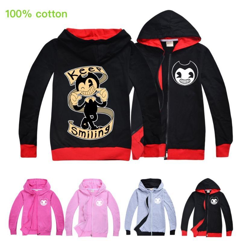 Bendy And The Ink Machine Kids Children Basic Coat Jacket Zipper Hooded Cardigan