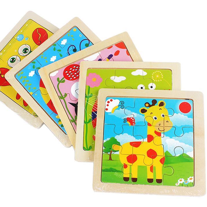 미니 크기 11 * 11CM 어린이 장난감 나무 퍼즐 3D 아기 만화 동물 / 교통 나무 퍼즐 어린이를위한 퍼즐 조각 퍼즐