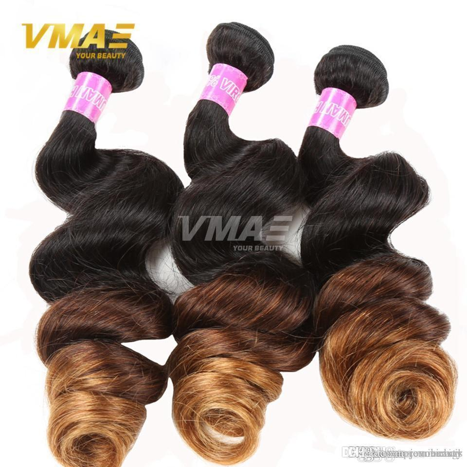 VMae Ombre peruviano di estensioni dei capelli onda allentata moderni mostrano capelli umani 3 Tone 1B # 4 # 30 a buon mercato vergine peruviana dei capelli 3 Bundles