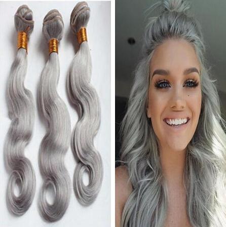 9A Capelli grigi brasiliana Grigio Argento di estensioni dei capelli di trama poco costoso grigio tessuto bundle Body Wave