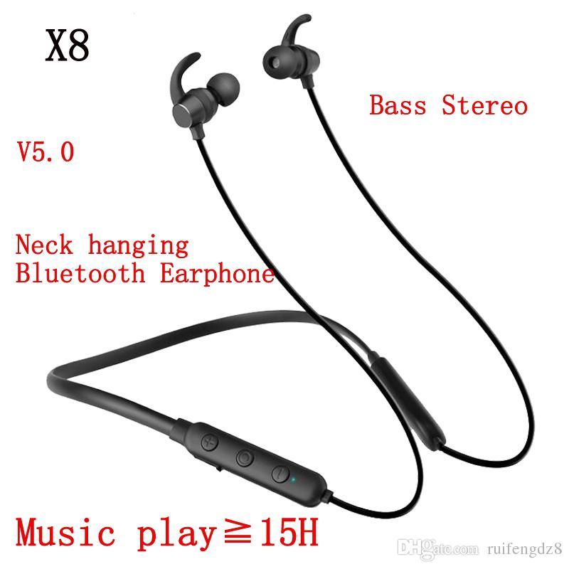 X8 5.0 Oyun Boyun Bandı tipi Kulaklık Mıknatıs Kulaklık Gürültü Iptal kulaklık bas Stereo X8 Kulaklık Karşılaştırılmış Boyun koşu Bluetooth Kulaklık