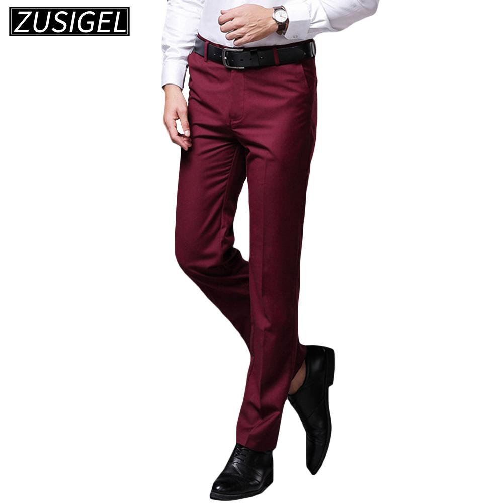 Classic Mens Solid Trousers Formal Straight-Leg Stretch Business Long Pant Dress