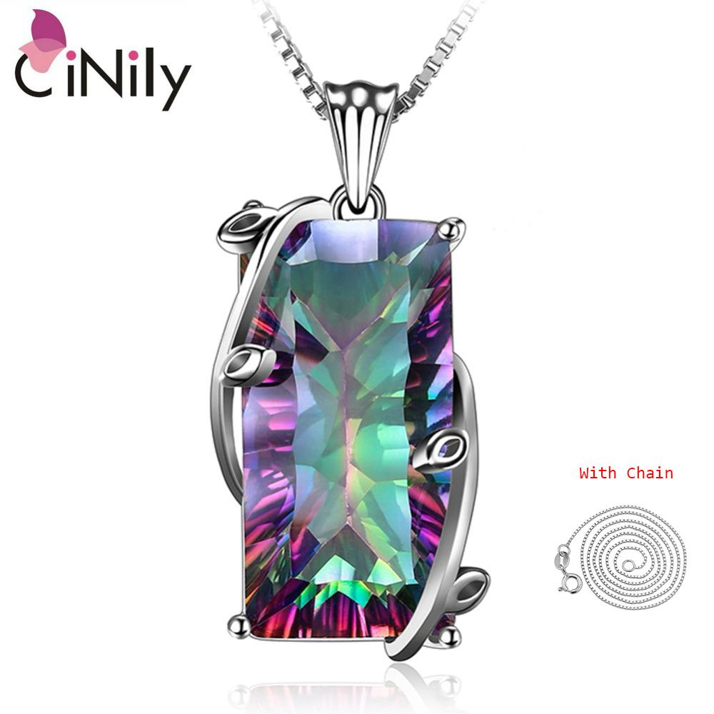 Cinily Big Rainbow Mystic Stone Necklace & Pendant Solid 925 Sterling Silver Chain Dangle Charm Ethnic Tribe Jewelry Women J190519