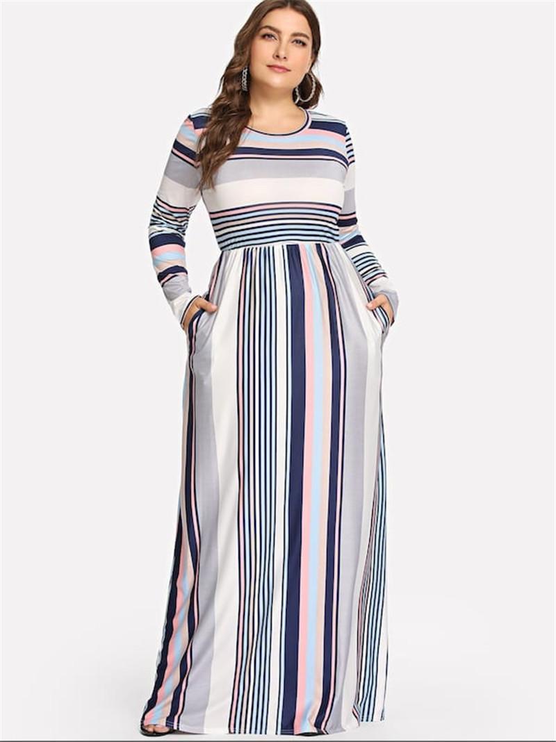 Plus Size Womens Casual Vestidos Moda colorido Stripe Impressão Painéis das mulheres Vestidos Designer Casual fêmeas roupa