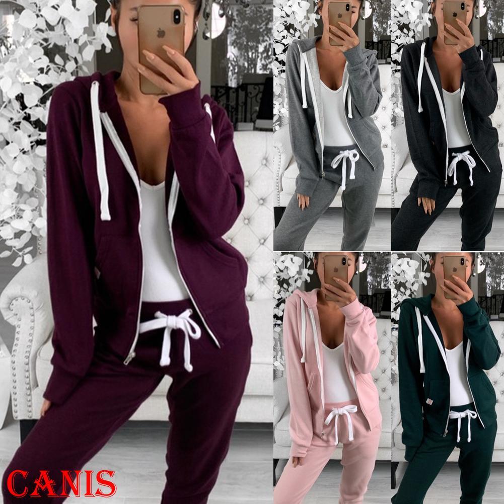 Long Sleeve nuove donne di modo casuale allentato Felpe Zip Up Felpa con cappuccio signore rivestimento dei Hoodies Coat Outerwear Top