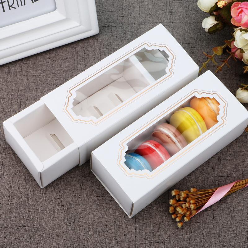 Прозрачный Macaron Box Ящик Box шоколада коробки торта коробки печенья Бисквит белый Коробка бумаги 14,5 * 5,5 * 5см Подарочные коробки