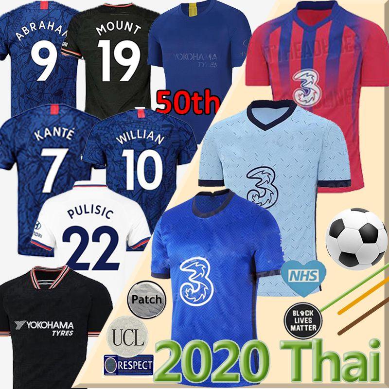 pullover di calcio Thailandia WERNER PULISIC KANTE ABRAHAM MOUNT ZIYECH 2019 2020 2021 Camiseta de kit di calcio della camicia 20 21 UOMO BAMBINO SETS