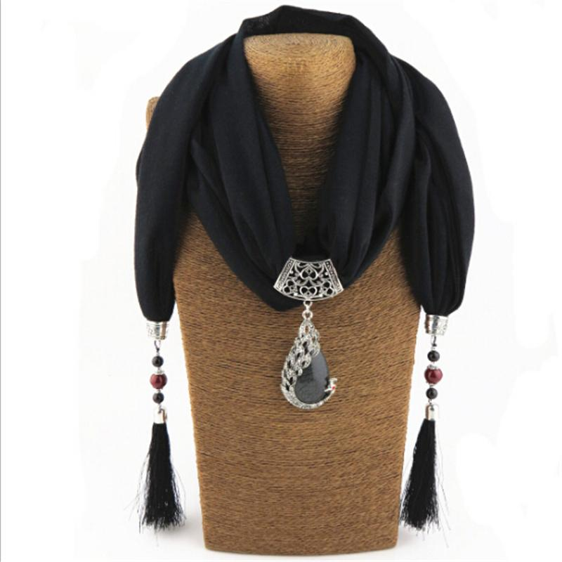 Bijoux Fashion Ethnic Necklace For Women Multicolor ceramic Beads peacock Statement scarf Necklaces Bohemian Jewelry