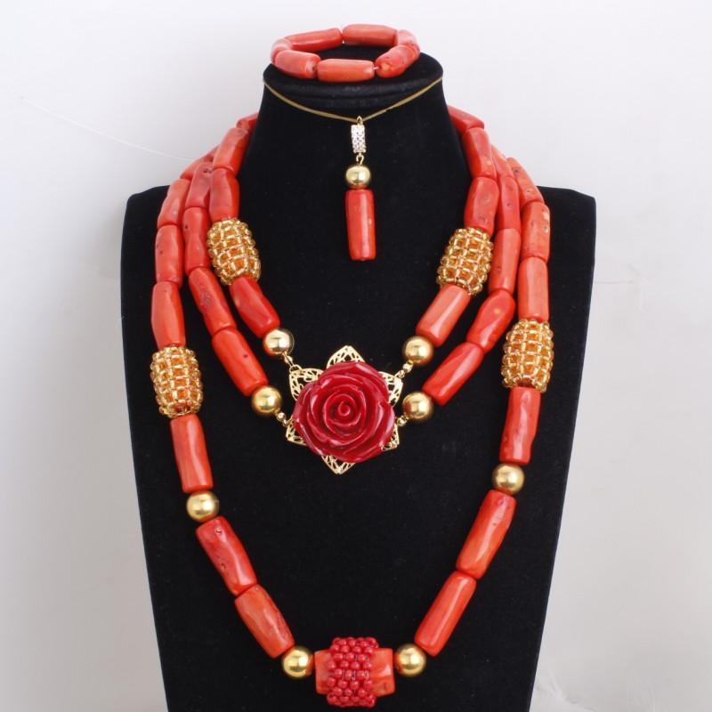 Colar Dudo laranja e ouro Dubai Set Com Flor Vermelha Natureza Coral Beads Jóias Set Para Africano Casamentos 3 Camadas 3 Pieces