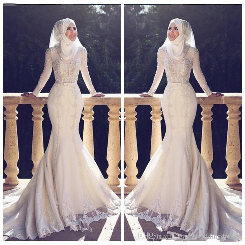 Modest Magro Fishtail Estilo Árabe vestidos de casamento da sereia mangas compridas Lace Applique O Neck Hijab trumpetLong vestidos de noiva muçulmana