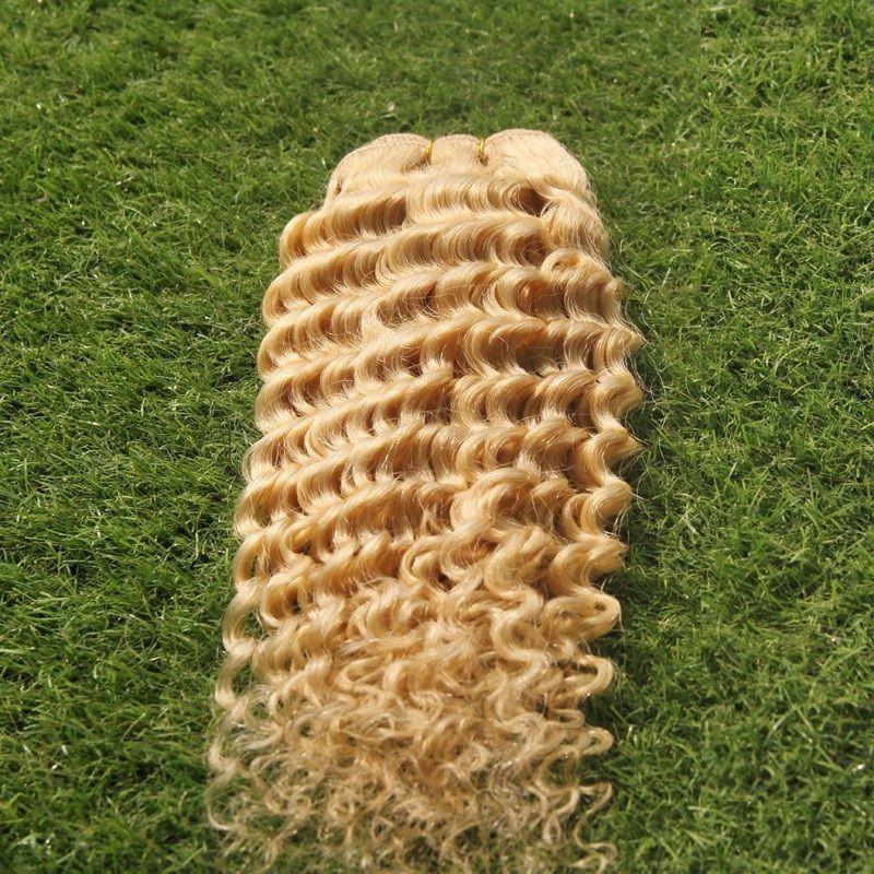 Пуэр Цвет Перуанский Глубокая Волна Плетение Волос Пучки 1 Шт. / Лот Двойной Уток Наращивание Волос 100% Человеческих Волос, Плетение 10-30 Дюймов