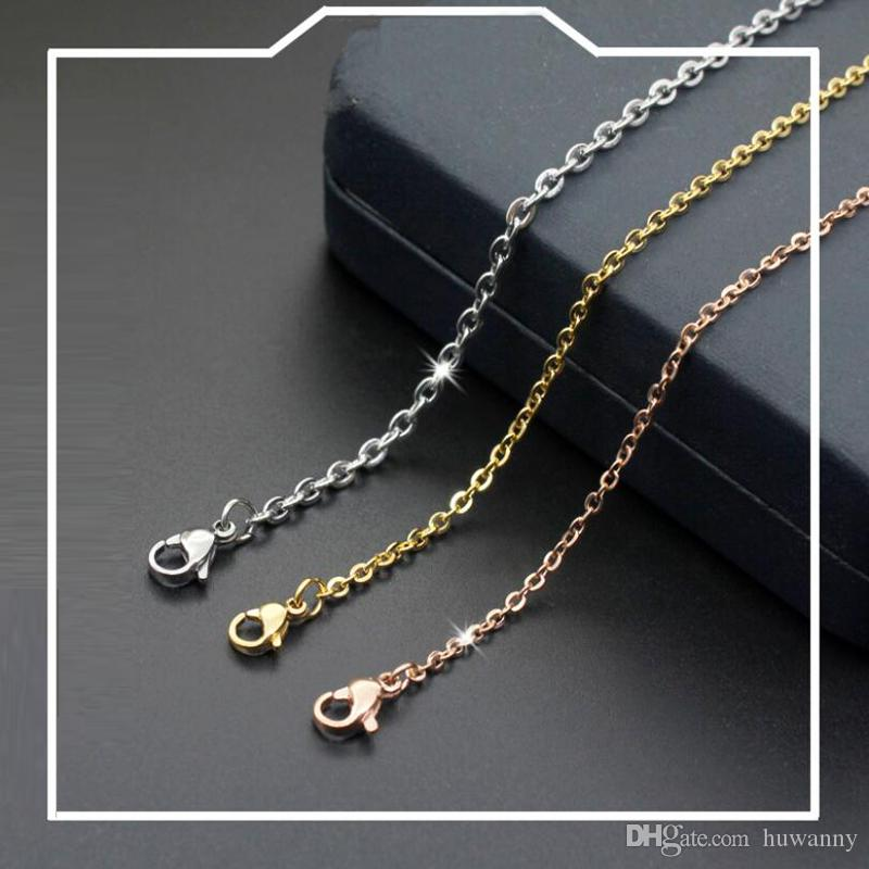 Stainless Steel Chains Necklaces for Men and Women Hot Sale Fashion Titanium Steel Chain Necklace 1-3mm Jewelry wholesale Free Ship 0918WH